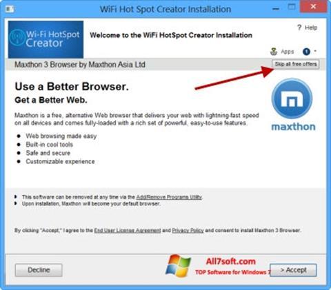 截圖 Wi-Fi HotSpot Creator Windows 7