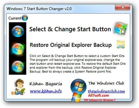 截圖 Windows 7 Start Button Changer Windows 7